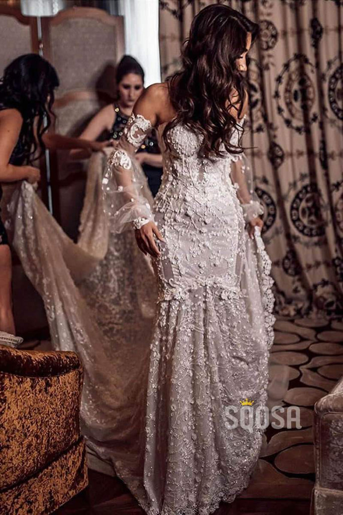 Luxury Lace Mermaid Wedding Dress Off-the-Shoulder Illusion Long Sleeve Bridal Gowns QW0831