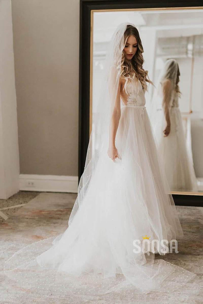 A-Line Modest Tulle Appliques Princess Wedding Dress Birdal Gown QW0833|SQOSA