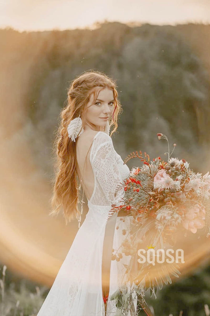 Bohemain Lace Long Sleeve Wedding Dress A-line Rustic Bride Gown QW0841|SQOSA