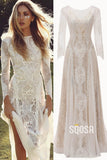 Bohemain Lace Long Sleeve Wedding Dress A-line Rustic Bride Gown QW0841