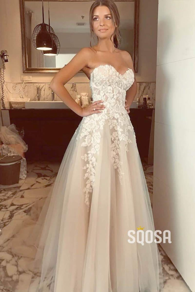 Sweetheart Tulle Lace Appliques A-Line Princess Wedding Dress Bride Gowns QW0847|SQOSA