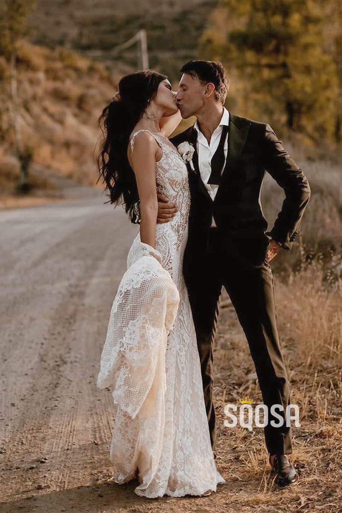 Attractive V-neck Lace Beaded Mermaid Wedding Dress Open Back Bride Gowns QW0850|SQOSA