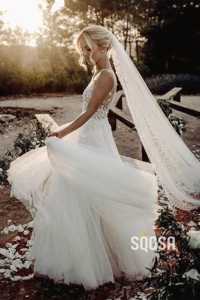 A-Line Attractive V-neck Appliques White Tulle Rustic Wedding Dress Bridal Gowns QW0857|SQOSA