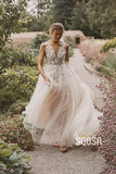 Illusion V-Neck Applliques Modest Tulle A-Line Rustic Wedding Dress Bohemian Wedding Gowns QW0859