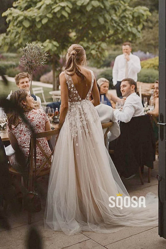 Illusion V-Neck Applliques Modest Tulle A-Line Rustic Wedding Dress Bohemian Wedding Gowns QW0859|SQOSA