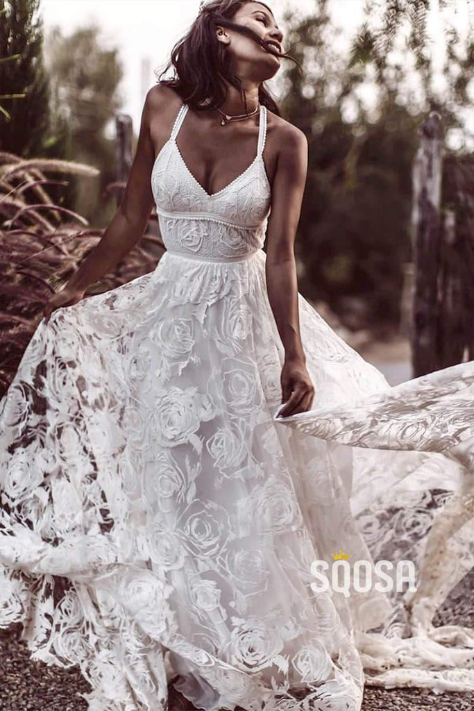 Luxury Lace Chic Halter A-Line Bohemian Wedding Dress with Slit Bridal Gowns QW0862|SQOSA