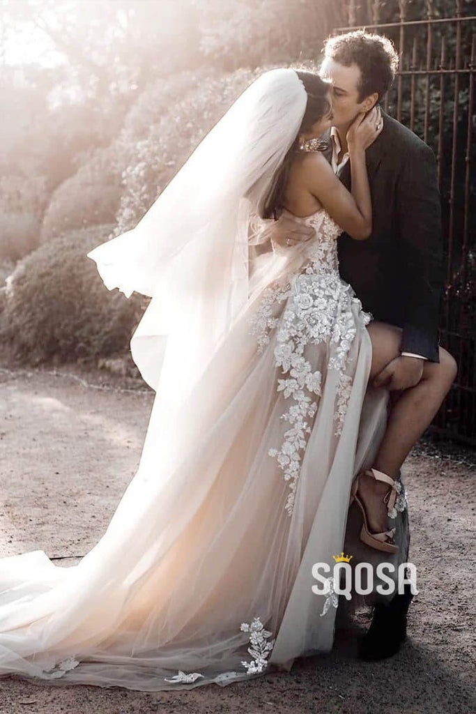 Sweetheart Lace Appliques Tulle A-Line Rustic Wedding Dress Bridal Gowns QW0864|SQOSA