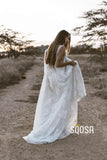 Amazing V-neck A-Line Lace Rustic Wedding Dress Bridal Gowns QW0867|SQOSA