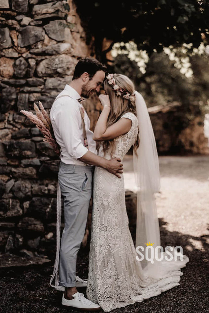 Exquisite Lace Cap Sleeves V-neck Sheath/Column Bohemain Wedding Dress QW0872|SQOSA