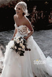 Sweetheart Appliques with Beading A-Line Rustic Wedding Dress Beach Wedding Dress QW0874|SQOSA