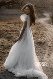 Attractive One Shoulder Tulle Appliques A-line Rustic Wedding Dress Bridal Gowns QW0875|SQOSA