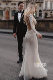 Attractive Deep V-neck Illusion Long Sleeve Appliques Lace Mermaid Wedding Dress QW0882|SQOSA
