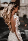 Attractive Deep V-neck Illusion Long Sleeve Appliques Lace Mermaid Wedding Dress QW0882