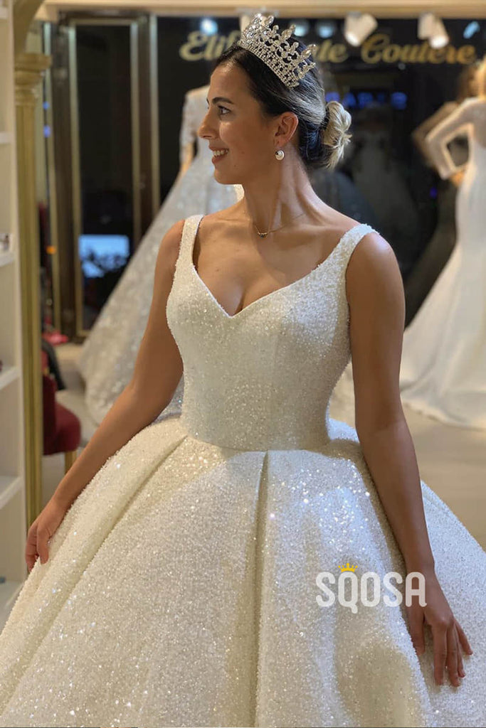 Ball Gown Double Straps V-neck Sequnins Sparkle Wedding Dress Bridal Gowns QW0884|SQOSA