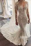 Mermaid Wedding Dress Illusion Long Sleeve Lace Wedding Dress with Watteau Train QW0885|SQOSA