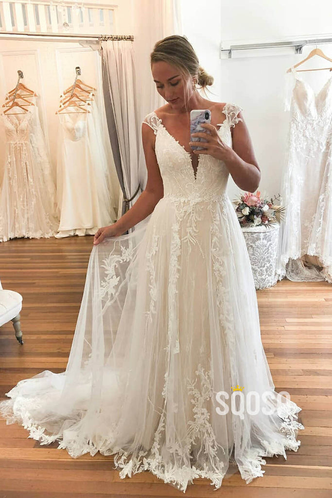 Exquisite Lace Cap Sleeves A-Line Rustic Wedding Dress Bridal Gowns QW0907|SQOSA