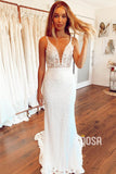 Mermaid Wedding Dress Chic Spaghetti Straps V-neck Lace Wedding Gowns QW0916|SQOSA