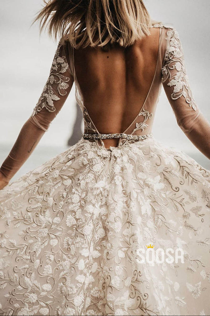 A-line Deep V-neck Exquisite Lace Long Sleeves Rustic Wedding Dress QW0923|SQOSA