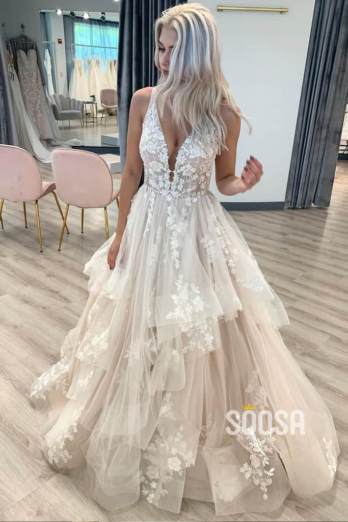 A-Line V-neck Tulle Appliques Pincess Wedding Dress Bridal Gowns QW0929|SQOSA
