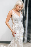 Mermaid/Trumpet Wedding Dress V-neck Princess Lace Wedding Gowns QW0933|SQOSA