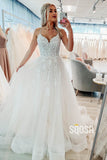 A-Line V-neck Spaghetti Straps Tulle Appliques Princess Wedding Dress QW0934|SQOSA