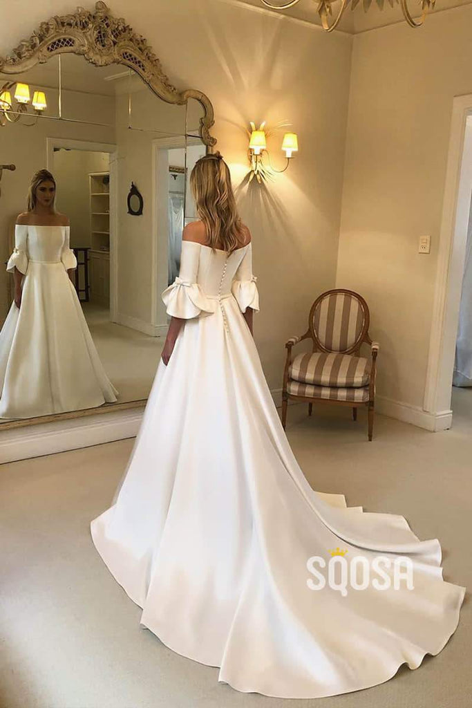 A-line Off-the-Shoulder Ivory Satin Simple Wedding Dress with Pockets QW0940|SQOSA