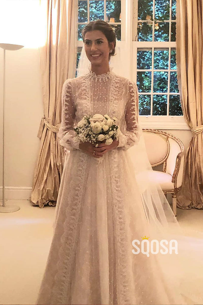 A-Line Jewel Neckline Illusion Long Sleeves Lace Wedding Dress QW0941|SQOSA