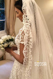 A-line Exquisite Lace Short Sleeves Wedding Dress with Sweep Train QW0942|SQOSA