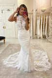 Mermaid Wedding Dress Chic High Neck Lace Wedding Gowns with Court Train QW0948|SQOSA