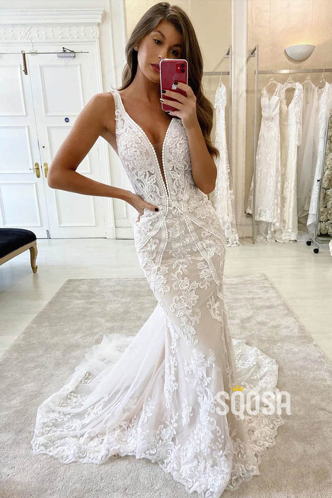 Mermaid Wedding Dress V-neck Lace Wedding Gowns QW0949|SQOSA