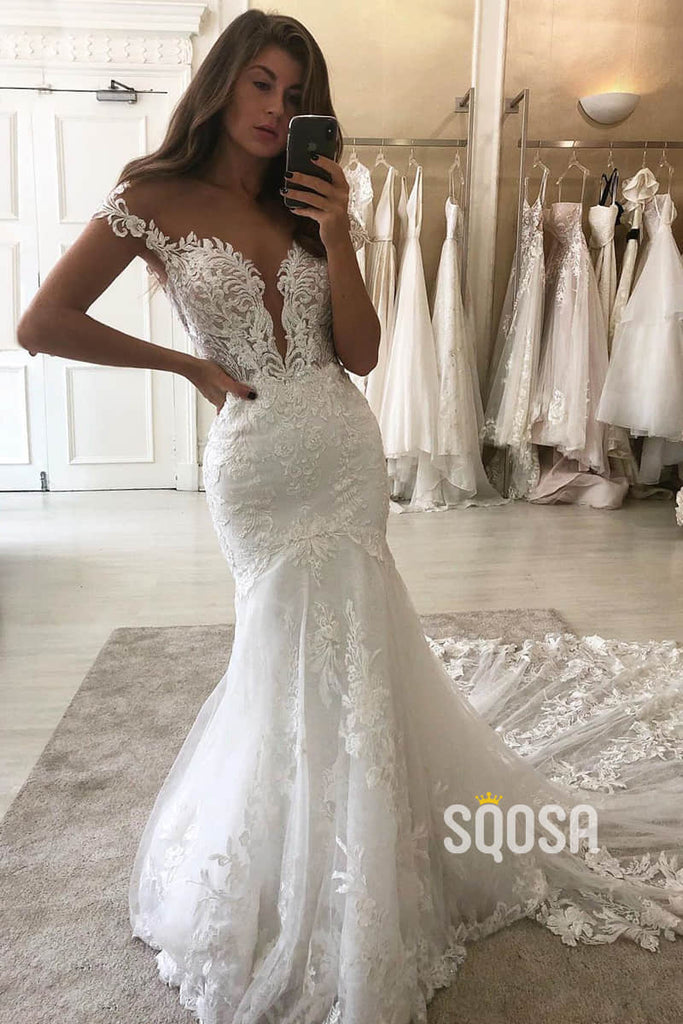 Illusion Cap Sleeves Mermaid Wedding Dress Lace Wedding Gowns QW0950|SQOSA