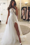 Sheath/Column Wedding Dress One Shoulder Chic Applqiues Wedding Gowns with Slit QW0951|SQOSA