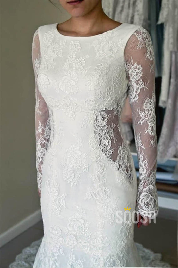 Sheath/Coulmn Wedding Dress Illusion Lace Long Sleeves Bridal Gowns Backless QW2081|SQOSA