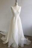 A-Line V-neck Ivory Chiffon Long Simple Wedding Dress Bridal Gowns QW2082