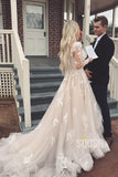 A-line V-neck Lace Appliques Long Sleeves Wedding Dress Bridal Gowns QW2083|SQOSA