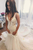 Mermaid/Trumpet Wedding Dress V-neck Lace Wedding Gowns Royal Train Bridal Gowns QW2085