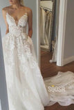 A-Line Spaghetti Straps Appliques Wedding Dress with Pockets Bridal Gowns QW2088|SQOSA