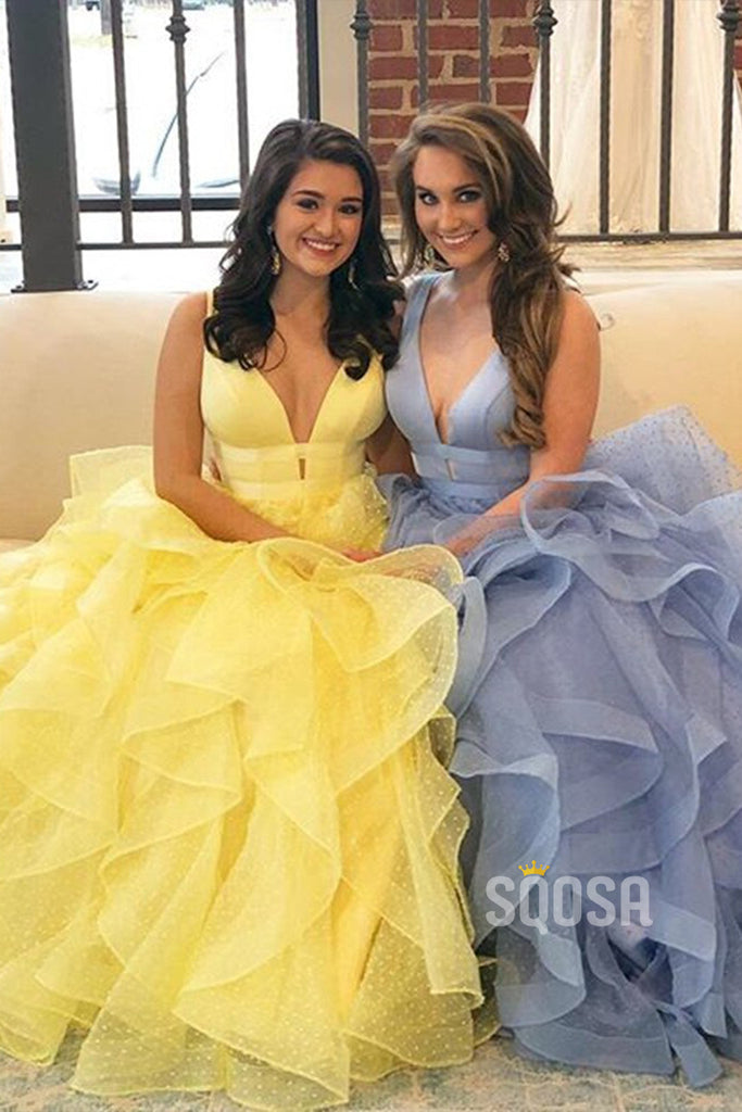 A-Line Ruffle Tulle V Neck Long Prom Dress Sweet 16 QP0881
