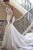 Spaghetti Straps Exquisite Lace Wedding Dress Mermaid Gown QW2519