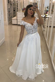 A-line Cap Sleeves Chiffon Appliques Beaded Wedding Dress Bridal Gown QW2222|SQOSA