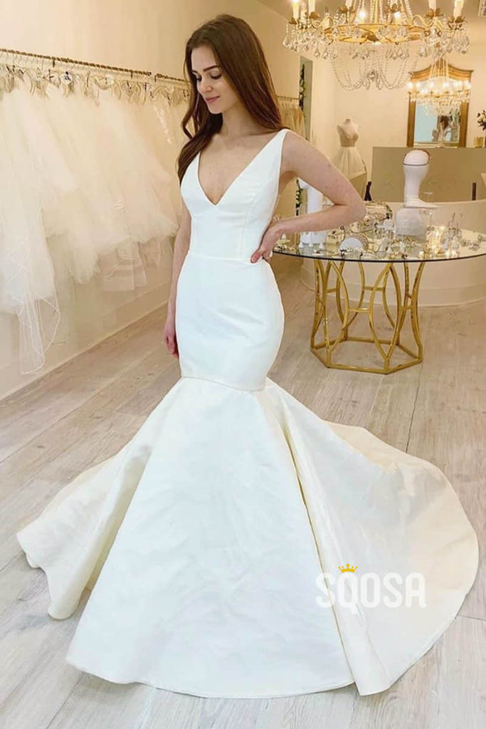 Mermaid/Trumpet Wedding Dress Double Straps V-neck Rustic Wedding Gowns QW2224|SQOSA