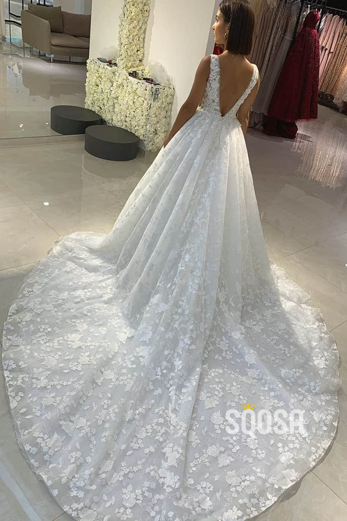 A-line Attractive V-neck Lace Wedding Dress Rustic Wedding Dress Court Train QW2227|SQOSA