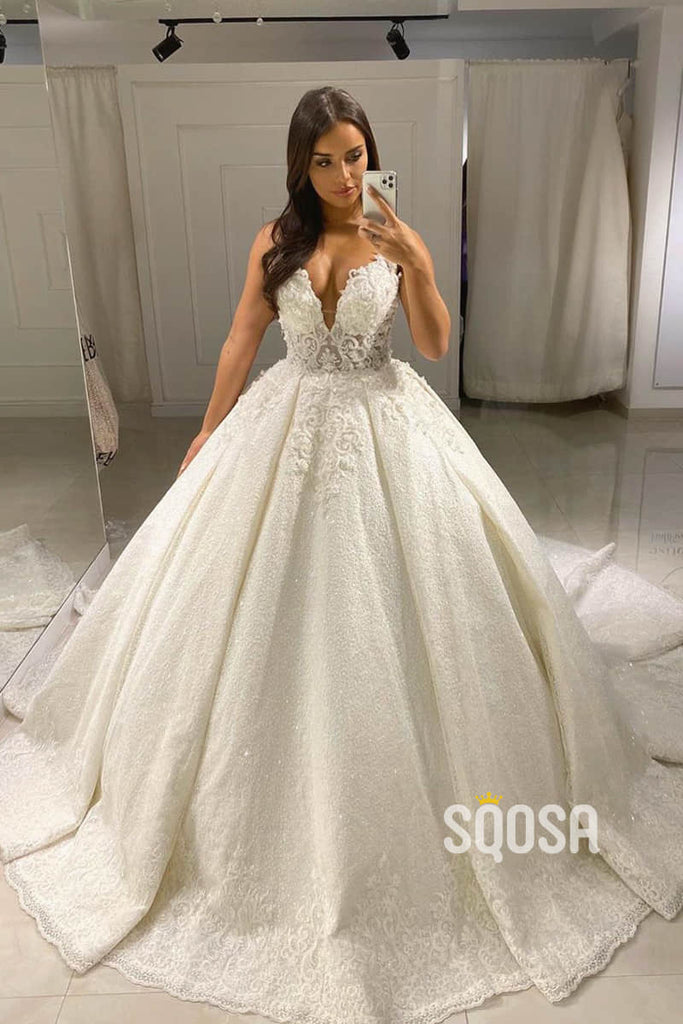Ball Gown Attractive V-neck Lace Appliques Rustic Wedding Dress Court Train QW2229|SQOSA