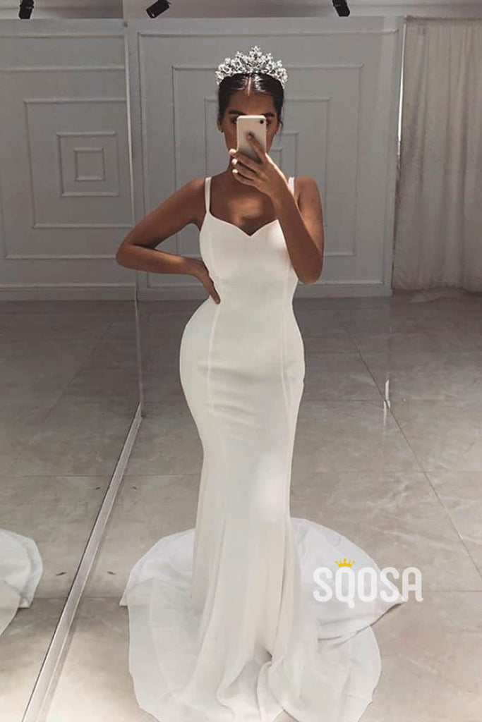 Mermaid/Trumpet Wedding Dress Double Straps Simple Rustic Wedding Gowns QW2230|SQOSA