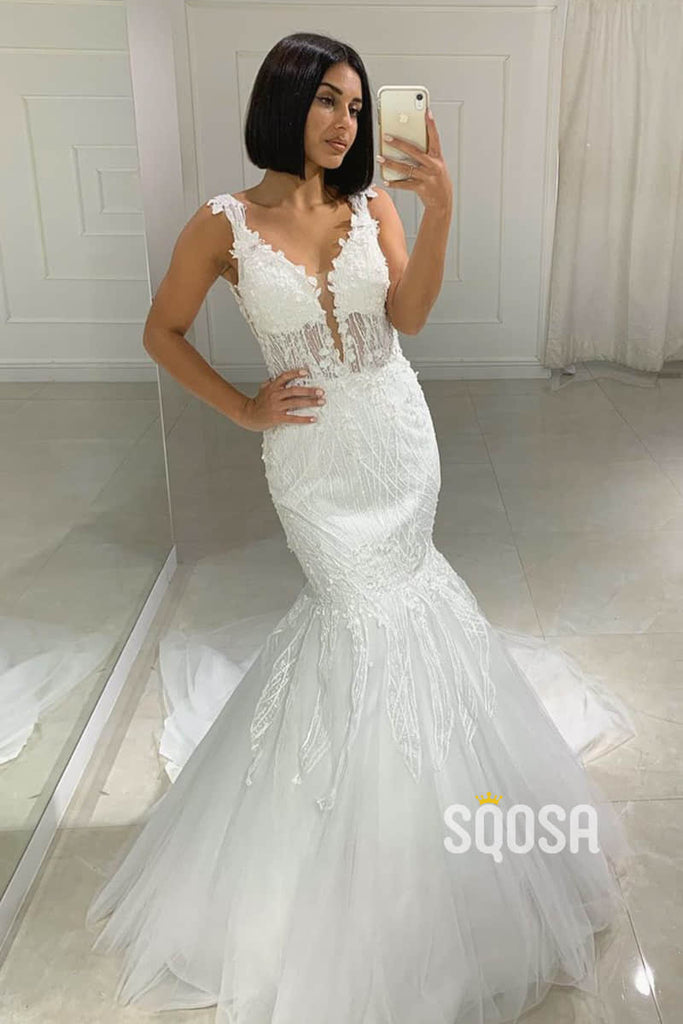Mermaid/Trumpet Wedding Dress Attractive V-neck Lace Appliques Rustic Wedding Gown QW2232|SQOSA