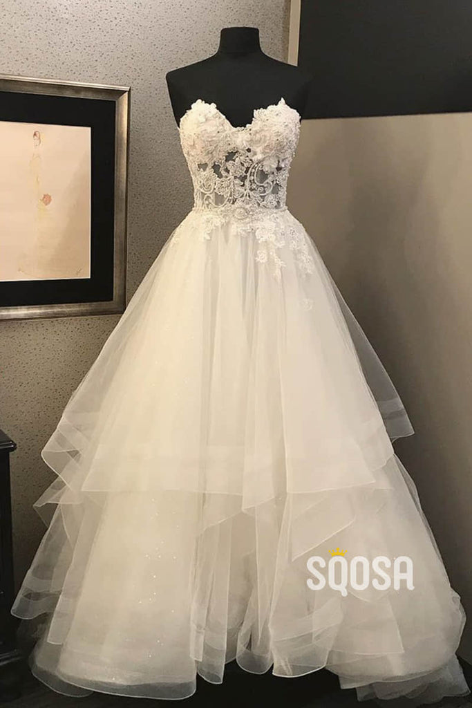 A-line Sweetheart Tulle Appliques Rustic Wedding Dress Bridal Gown QW2234|SQOSA