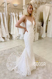 Mermaid/Trumpet Wedding Dress Spaghetti Straps V-neck Lace Wedding Gown QW2243|SQOSA