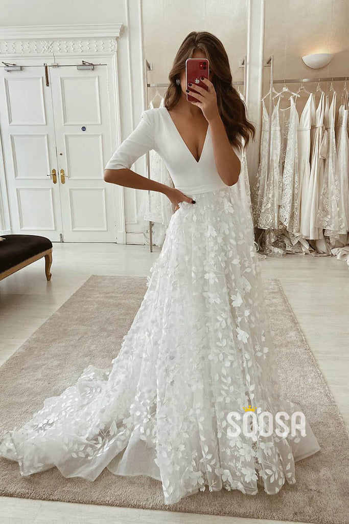 A-line Attractive V-neck Half Sleeves Lace Wedding Dress Rustic Wedding Gown QW2244|SQOSA