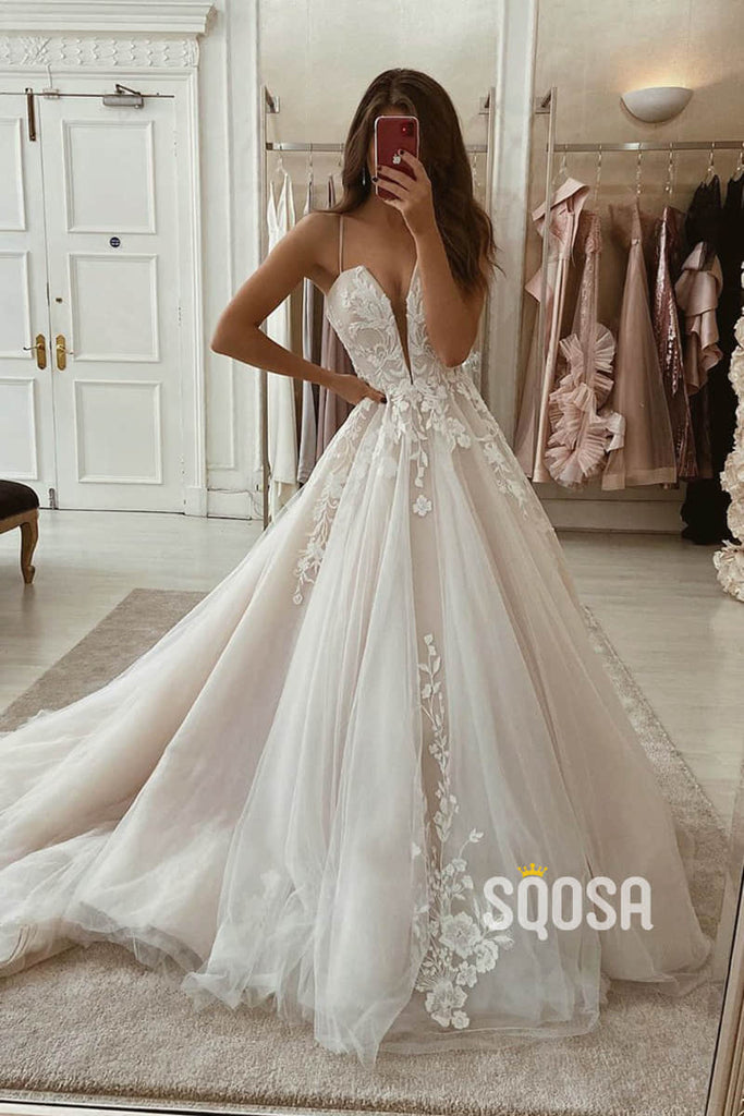 A-Line Spaghetti Straps Tulle Appliques Rustic Wedding Dress Bridal Gown QW2245|SQOSA