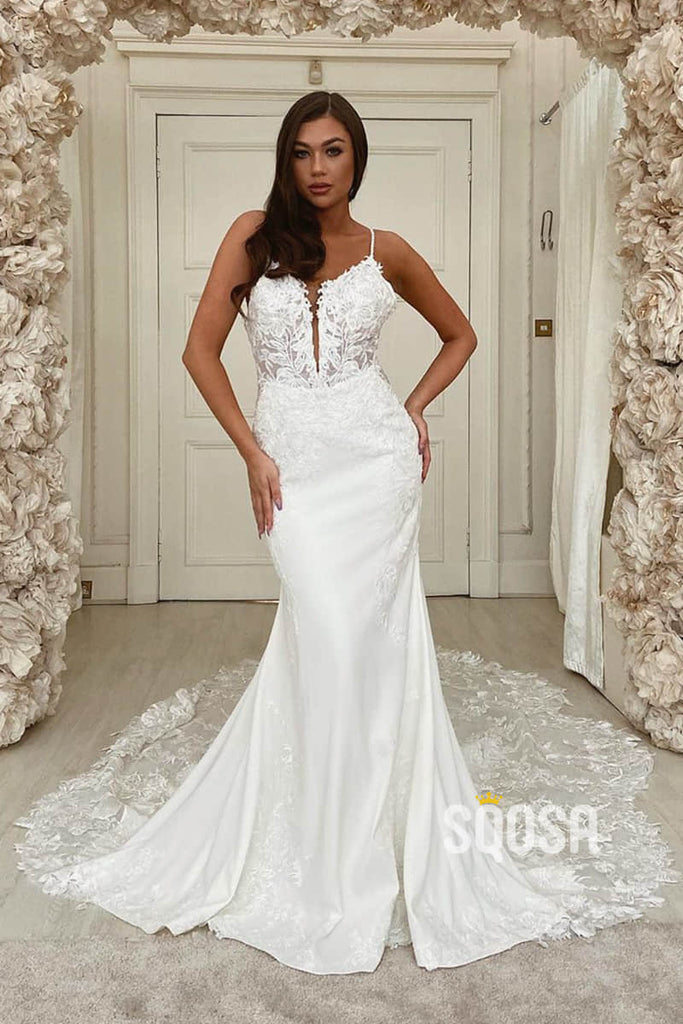 Mermaid/Trumpet Wedding Dress Spaghetti Straps Lace Appliques Rustic Wedding Gown QW2247|SQOSA